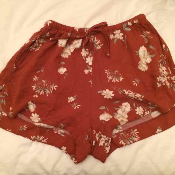 Brandy Melville - Brandy Melville Red Floral Eve Shorts from Amy's ...
