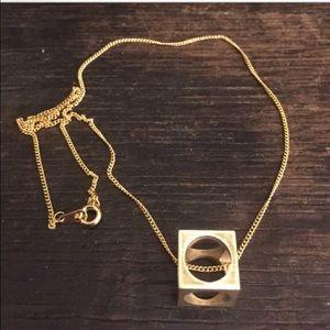 Vintage Jewelry - Brass Cube Necklace