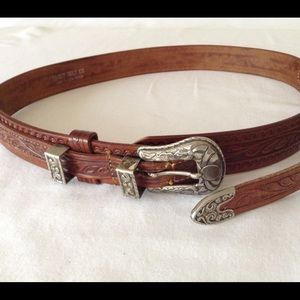 """Accessories - Vintage Leather Cowgirl Belt 35"""" long"""