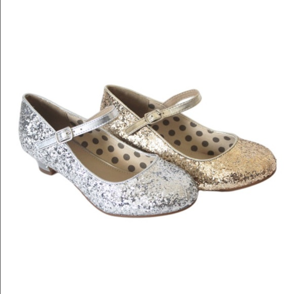 95af56b34e Kids shoes - silver glitter shoes with small heel Boutique