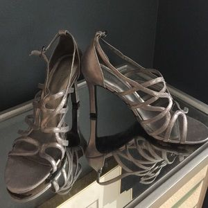 Lovely silver metallic fabric shoes
