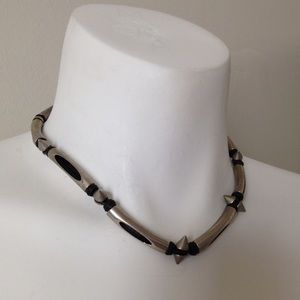 Buckle Jewelry - Vintage 90s mini spike & long silver bead choker