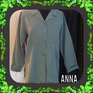 Vintage Jackets & Blazers - VINTAGE Jacket / Green / Suede Like / Medium