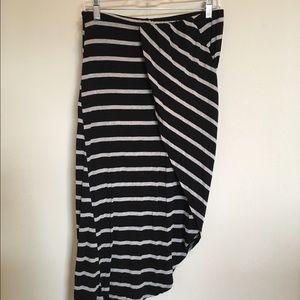bobeau Dresses & Skirts - Black and Grey Stripe Asymmetrical Wrap Skirt