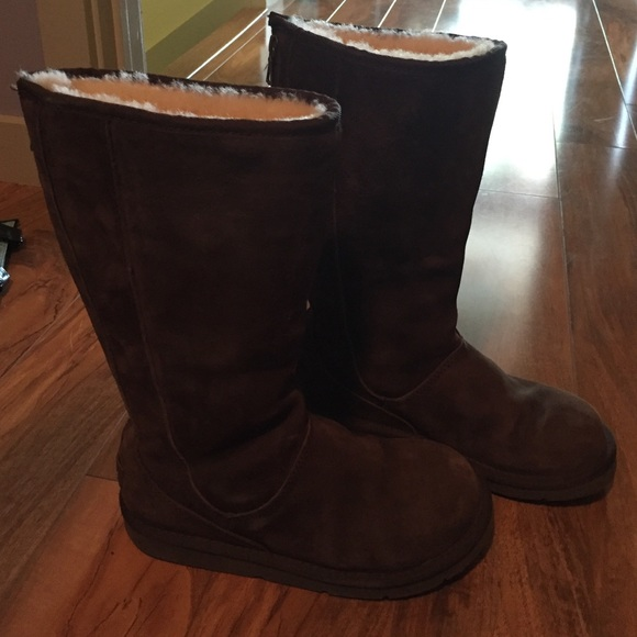 ab19e54577b Tall chocolate brown Ugg boots with zipper on back