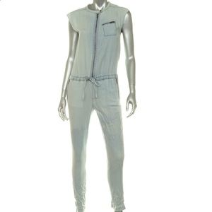 Kiind Of Pants - KIIND OF Jumpsuit Chambray Drawstring Half Zipper