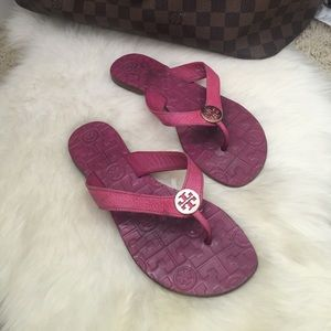 Tory burch pink leather thora sandals Sz 6