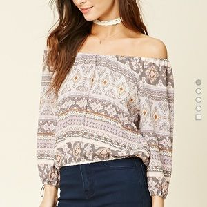 Forever 21 Tops - Ornate Printed Off The Shoulder Blouse