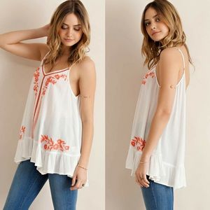 ‼️LARGE ONLY‼️Ruffled Tank with Embroidery