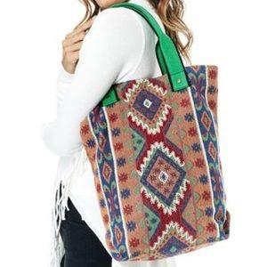 Southern Girl Fashion Handbags - ETHNIC TOTE Diamond Tapestry Shoulder Big Boho Bag