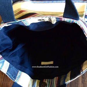 1d47c329de45 Southern Girl Fashion Bags - STRIPED TOTE Bohemian Big Book Bag Large  Carryall