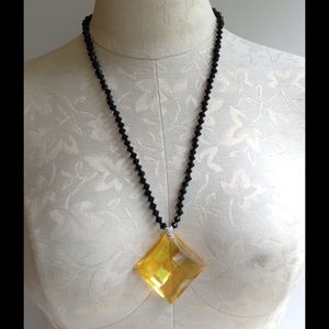 Jewelry - Amber color Crystal necklace with Jet Glass Beads