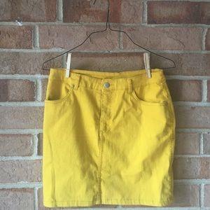 {vintage, mini, yellow, skirt, stretchy }