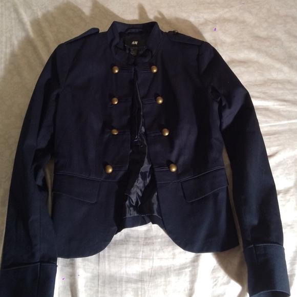 H M Jackets   Blazers - Navy Blue Military Jacket 5a91ea7bfca