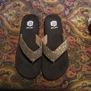 Yellow Box Shoes - Gold Sequined Flip Flops By Yellow Box