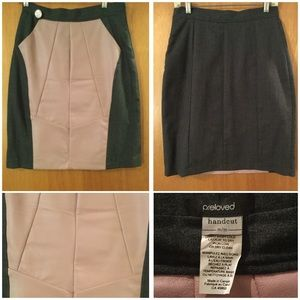 Unique Wool Pencil Skirt w/ Leather Front, M