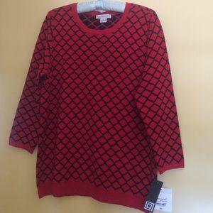 New Liz Claiborne Red/Black Jacquard Sweater LGE