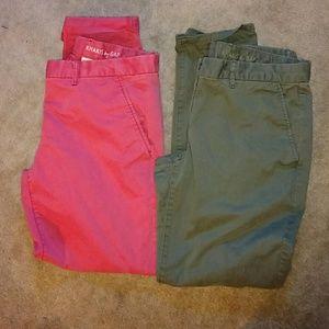 Green & coral  gap khakis