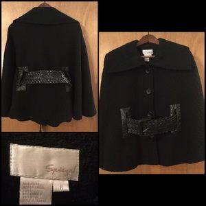 Black Wool Blend Cape w/ Belt, Size 6