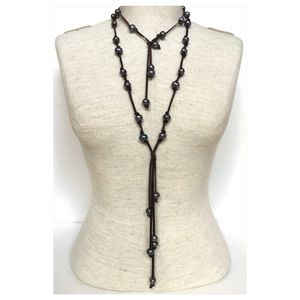 Jewelry - Dark gray Pearl and leather necklace set