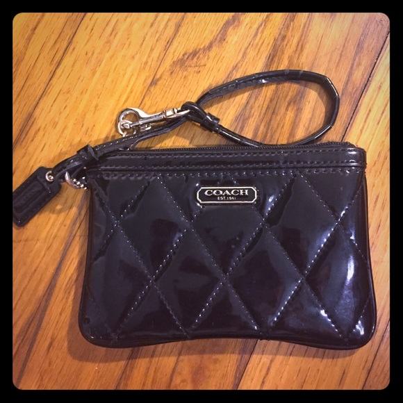 88% off Coach Handbags - Small Black Coach Patent Quilted Wristlet ... : quilted wristlet - Adamdwight.com