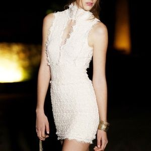 Free People Dresses & Skirts - FREE PEOPLE Lace Dress Plunge Neck Bodycon Eyelet
