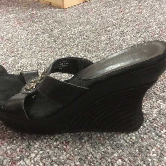 Matisse Black Platform Slip On Wedge Sandals From
