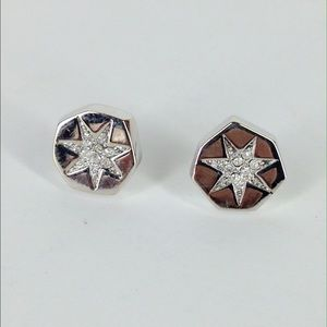 Louise et cie pave octagon stud earrings silver