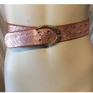 Just Cavalli Accessories - 🔥JUST CAVALLI Couture Leather Belt Metallic Pink
