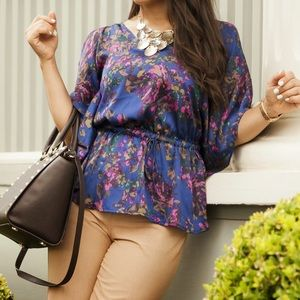 Express Tops - Express Blue & Purple Floral Print Silky Blouse