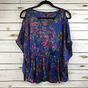 Express Blue Pink Floral Print Batwing Blouse
