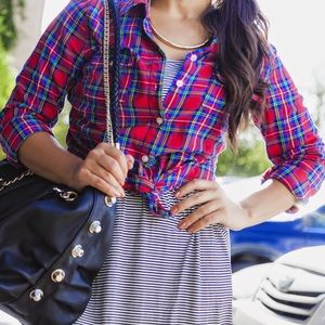 Old Navy Tops - Red Multicolored Plaid Button Down Shirt