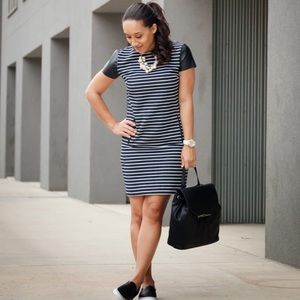 Ann Taylor Dresses & Skirts - Ann Taylor Blue/White Stripe Leather Sleeve Dress