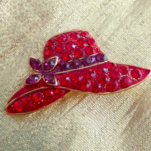 Vintage vintage red hat rhinestone brooch pin from for Red hat bling jewelry