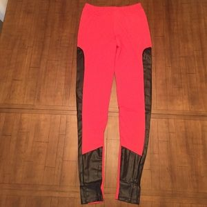 NEW Contrasted Faux Leather Pants