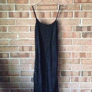 Maxi black lace dress