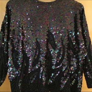 Black sequined evening top