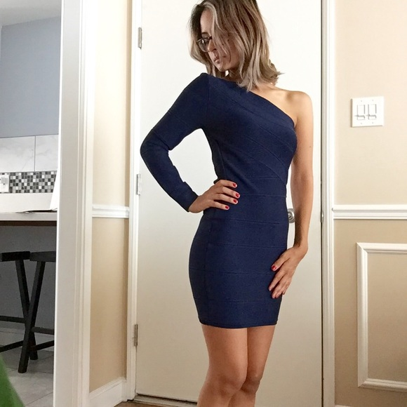 Guess by Marciano navy blue bandage dress