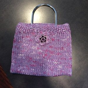 Handknit purse with silver metal handles
