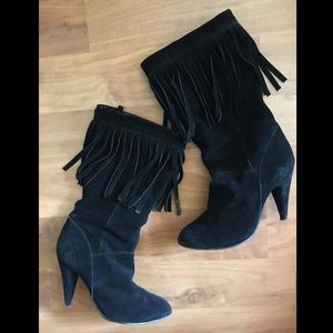 Bakers Shoes - Bakers Fiona Fringe Faux Suede Boots