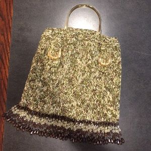 Hand Knit green multi purse with gold details
