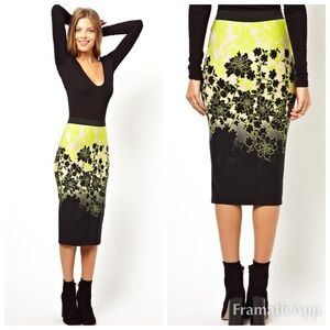 ASOS Pencil Skirt in Neon Ombre Floral Print