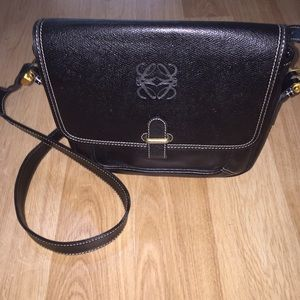 Loewe Handbags - Leowe Black Leather Messenger Bag Cross Body