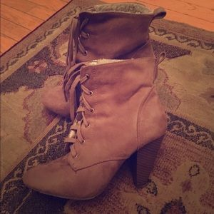 F21 Beige Lace-Up Booties