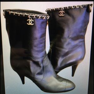 Authentic CHANEL 'CC' Chain High Heel Black Boots