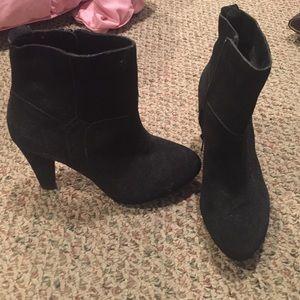 Genuine Suede Black Ankle Booties