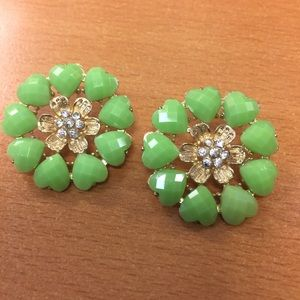 Jewelry - New Large Green Heart and Flower Stud Earrings