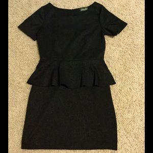 Maude Dresses & Skirts - Floral etched short sleeve black peplum dress
