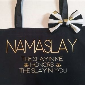 Namaslay Large Sparkly Gold Dipped Tote Bag