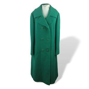 60s Bromleigh Green Wool Coat Double Breasted M